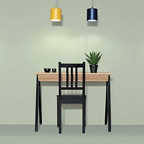 borcas® Vogel Schreibtisch schwarz mit Schubladen, Made in Poland, modernes Design, handgefertigt aus natürlichem Holz: Eiche, Buche, 100x77x50cm