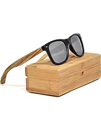 1456904ffe GOWOOD Gafas de sol de madera de cebra para hombre y mujer con frontal negro  mate