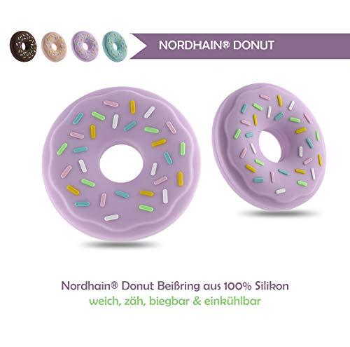 Nordhain Donut Beißring Lila für Babys aus hochwertigem Silikon - unterstützender Spielkamerad & Freund deines Babys in zahnender Zeit