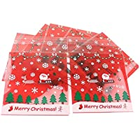 DOOUYTERT Sac Transparent 100pcs Santa Bag noël Autocollant en Plastique Sac à Biscuits en Plastique pour Bonbons Biscuit Paquet (Rouge)