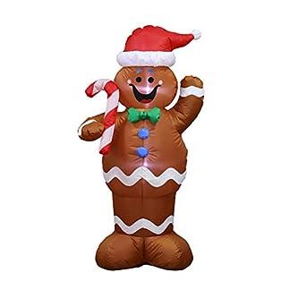 Oyria – Muñeco de Nieve Hinchable de Navidad con bastón de Caramelo y luz LED para decoración navideña en Interiores y Exteriores (1,5 m)