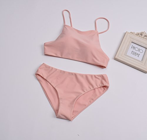 Signore, Il Costume Bikini Rosa Carne Separata Da Fasciatura Bikini,M l.