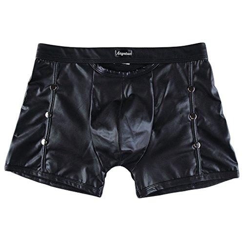 Gazechimp Herren Boxershorts Wetlook Unterwäsche Trunks Stretch Boxer Briefs reizvolle Badehose - Schwarz, M (Sexy Boxer Stretch Herren)