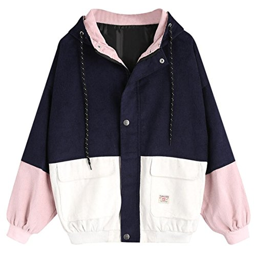Moonuy,Damen Long Sleeve Hoodies, Damen Cord Patchwork Oversize Zipper Jacke Windbreaker Crop Mantel Lässige Mantel für Party, Beach Damen Mädchen Sweatshirt (Marine, EU 38 / Asien L)