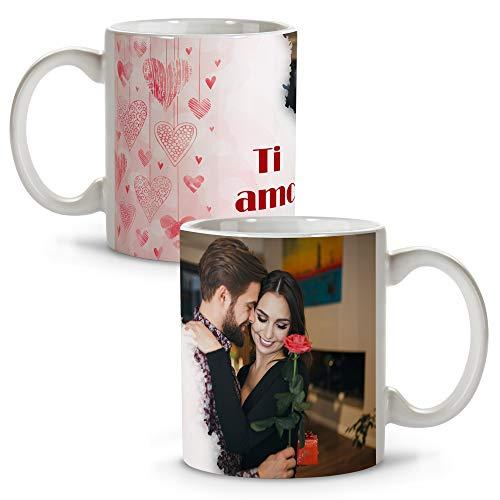 Tazza di san valentino. personalizzato con la tua foto. vari disegni. regalo per gli amanti originale ed esclusivo. cuori