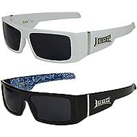 2er Pack Locs 9058 X10 Sonnenbrillen Herren Damen Männer Frauen Brille - 1x Modell 02 (schwarz matt / schwarz getönt) und 1x Modell 04 (schwarz glänzend - Bandana-Design schwarz / schwarz getönt) miesRKtLj