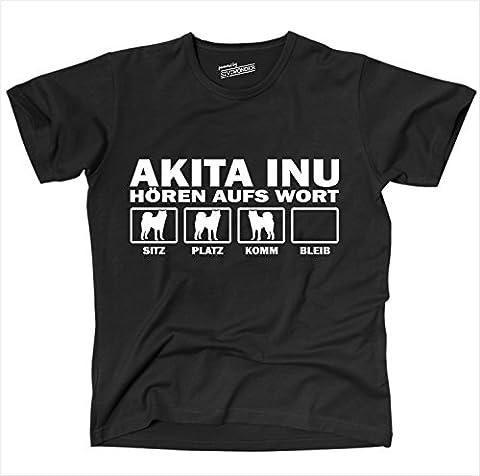 Siviwonder Unisex T-Shirt Akita Inu Hunde Hören Aufs Wort Schwarz - Weiß XXL (Akita Inu Hund)