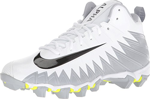Nike Men's Alpha Menace Shark Football Cleat White/Black/Metallic Silver/Wolf Grey Size 13 M US (Cleats Football Nike Silver)