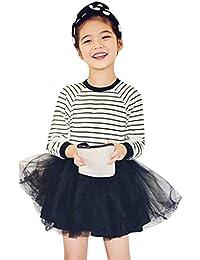 f6cf78ce6 Mitlfuny Primavera Verano Ropa Niñas Bebé Princesa Vestidos Manga Larga  Rayas Cuello Redondo Camiseta Vestido Tul
