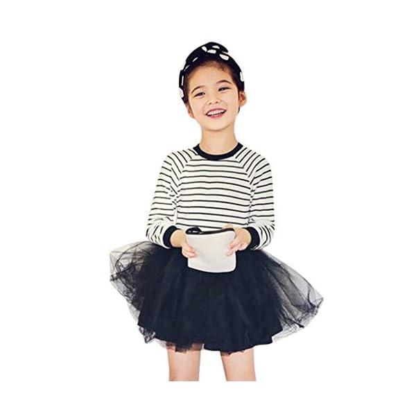 Mitlfuny Primavera Verano Ropa Niñas Bebé Princesa Vestidos Manga Larga Rayas Cuello Redondo Camiseta Vestido Tul… 1
