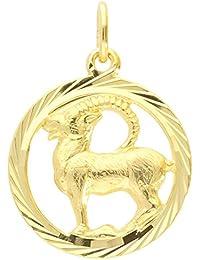 MyGold Sternzeichen Anhänger Steinbock (Ohne Kette) Gelbgold 333 Gold (8 Karat) Diamantiert Innen Offen Ø 15mm Rund Tierkreiszeichen Horoskop Geschenke Geschenkideen Gavno A-04433-G302-Ste