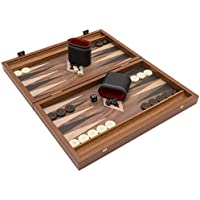 Manopoulos The Noyer Black and Chêne Club Ensemble de Backgammon Compact avec Bonnets Philos Deluxe
