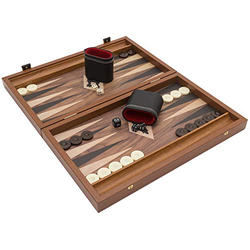 Manopoulos The Walnut Black and Oak Club Compact Backgammon-Set mit Philos Deluxe Bechern