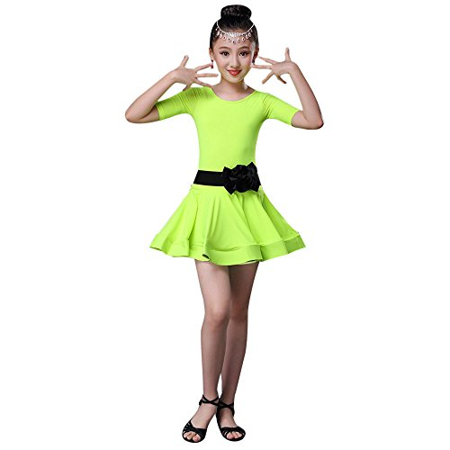 Wettbewerbs Hop Tanz Hip Kostüm - Lonshell Lateinisches Tanz Kleid Mädchen Kostüm mit Bowknot Gürtel Salsa Tango Rumba Tanz Verschleiß + Leggings Party Tanzkostüm für 2-13 Jahre Kinder