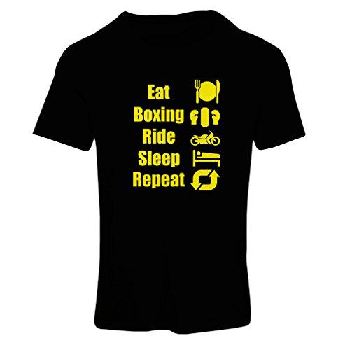 Frauen T-Shirt Eat Sleep Boxing Repeat – para combatientes y jinetes (Small Schwarz  Gelb)