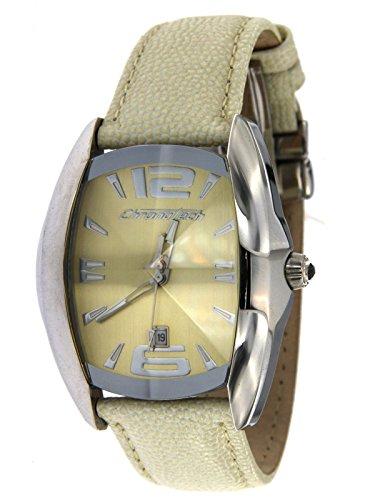 Clock Men's Chronotech Strap Leather Ivory
