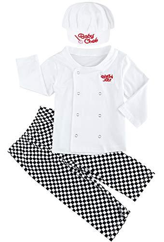 (FANCYINN Säugling Baby Chefkoch Outfit Schlafanzüge aus Baumwolle Cosplay Kostüm 3-teiliges Set 18-24 Months)