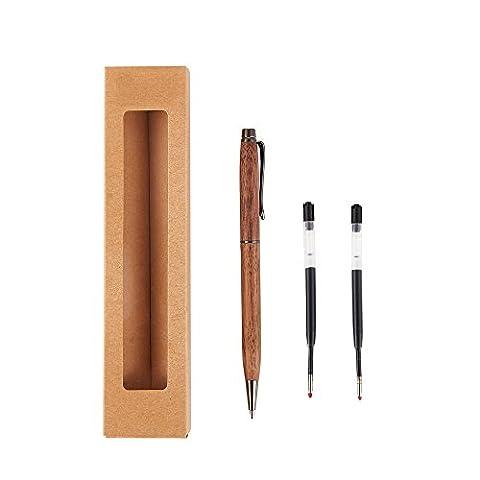 artinova Holz Gel Stift schwarz Tinte handgefertigt mit zwei 0,5mm schwarz Patronen aus Walnuss arta-0002