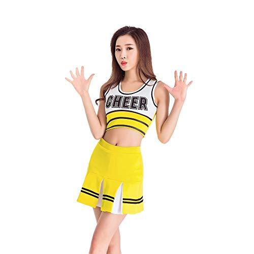 MCO%SISTSR Cheerleader-Kostüm,Mädchen Cheerleading Uniform-Anzug Weste Shorts Buchdruck Fußball-Basketball-High-School-Sport-Wettbewerb Tanz-Performance, Gelb, L