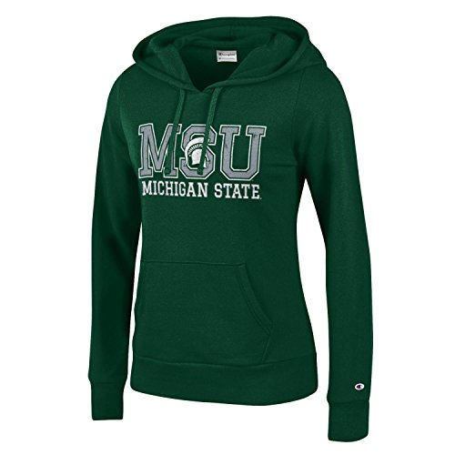 CHAMPION NCAA Women's Comfy Fitted University Fleece Hoodie Michigan State Spartans, X-Large, Green -