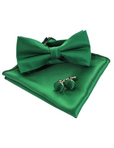 JEMYGINS grün Fliege und Einstecktuch mit Manschettenknöpfe Sets für Herren Hochzeit Seidenfliegen(11) -