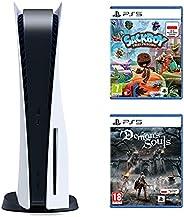 Sony PlayStation 5 + Gra PS5 Sackboy A Big Adventure! + Gra PS5 Demon's Soul Remake (