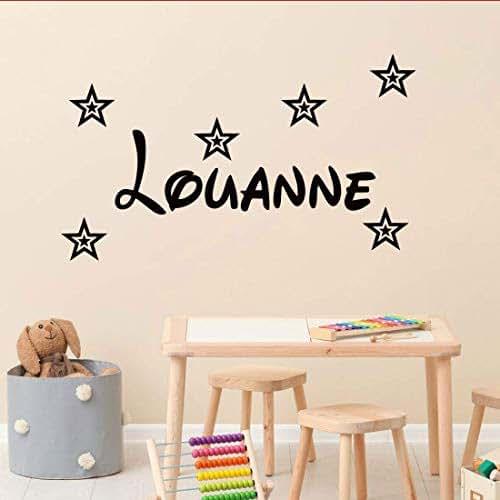 stickers mural pr nom disney avec 6 toiles d coration mur chambre enfant b b 14 couleurs au. Black Bedroom Furniture Sets. Home Design Ideas