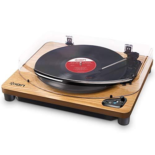 ION Audio Air LP Wood - Giradischi Bluetooth a Tre Velocità con Software di Conversione USB - Finitura in Legno Anticato