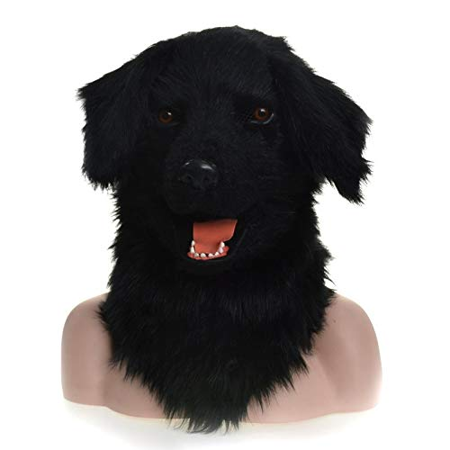 Hochwertige Materialien Animal Furry Mask Kopf-Hals-Tiermasken Moving Mouth Mask Tiermaske Black Dog Animal Carnival Face Mask Tierhalsmaske (Color : Black) (Black Dog Kostüm Für Erwachsene)