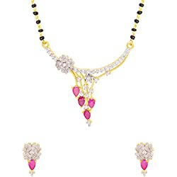 Voylla Contemporary Gold Plated Mangalsutra Set with Red Gemstones