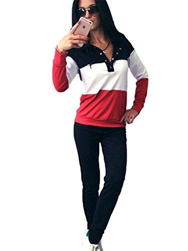 YiLianDa Damen Sportanzug Fitnessanzug Trainingsanzug Jacke und Hose Rot M