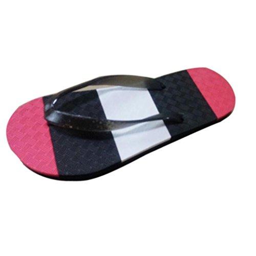 Transer® Herren Zehentrenner Flach Dusche Strand PVA+Kunststoff Slipper (Bitte achten Sie auf die Größentabelle. Bitte eine Nummer größer bestellen. Vielen Dank!) Rot
