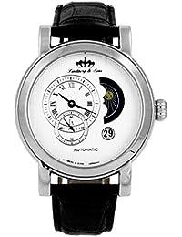 Lindberg & Sons Reloj automático para hombre con correa de piel color negro y de color blanco esfera analógica pantalla hq22239 W