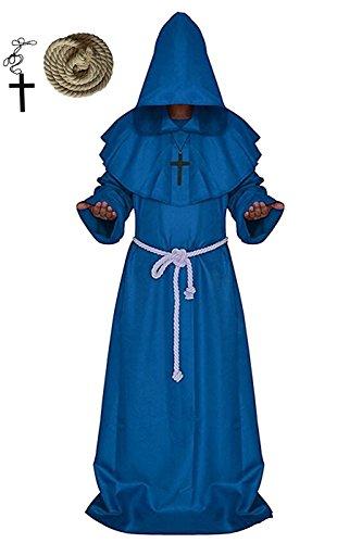 Mönch Medieval Zisterzienser Mönch, VERNASSA Priester Mönch Robe Priester Cape Robe Halloween Cosplay Kostüm Umhang, (M Kostüme Deluxe & M's Blue)