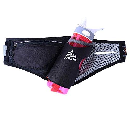 Loveble Walking Wandern Reisen Laufen mit Gürtel Passport Wallet Bum Taille Tasche 750ML Wasserkocher Schwarz + 750ML Wasserkocher