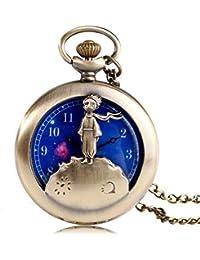 Reloj de Bolsillo de Cuarzo con diseño de Principito para Hombre, dial Azul Planeta,