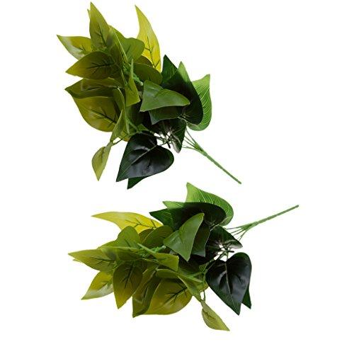 Gazechimp 2x Künstlicher Mini 7 Kopf Blätter Blattpflanzen - Grün, 35cm