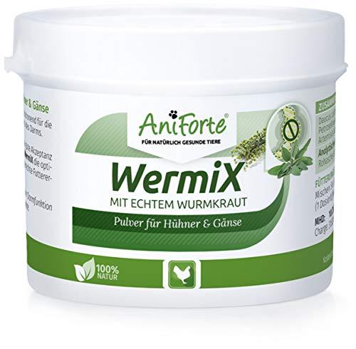 AniForte WermiX Pulver 50g für Hühner, Gänse, Enten und Großvögel - Natürlicher Wurmfeind, Naturprodukt Bei und Nach Wurmbefall - Regelmäßig Kraft-formel