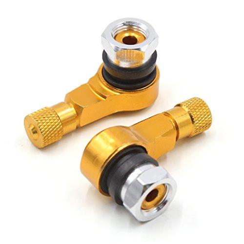 2Pcs Gold Tone 90 Degree Angled Aluminum Alloy Tubeless Tire Valve Stem...