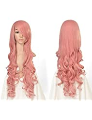 "32"" 80cm Long Hair Heat Resistant Spiral Curly Cosplay Wig(Dark Pink)"
