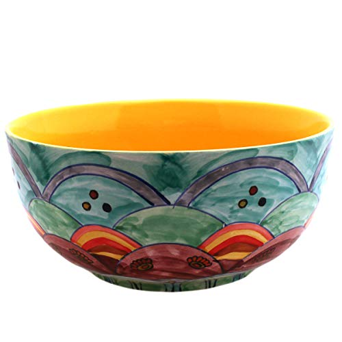 Salatschüssel Schale Keramik Handbemalt Bunt Blue Flower Design (Gelb, Groß) -