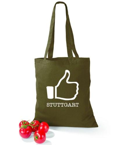 Artdiktat Baumwolltasche I like Stuttgart Olive Green