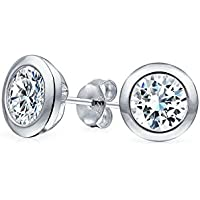 Bling Jewelry Mens CZ Martini Set lunetta Orecchini in argento Sterling 5 millimetri