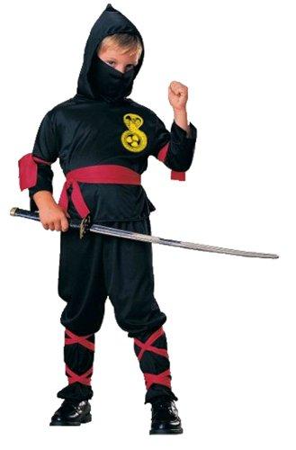 n Ninja Kämpfer Kostüm- Oberteil Hose Schal Gürtel, schwarz, 3-4 Jahre ()