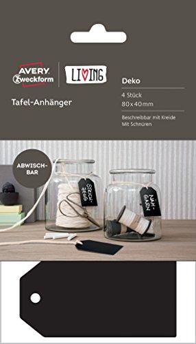 Avery Zweckform 62023 Living Tafel-Anhänger Deko (abwischbar, 80 x 40 mm) 4 Stück schwarz