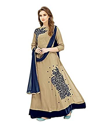 Generic Women's Rv Fashion Georgette Fabric Fancy Anarkali Long Sleeve Gown with Dupatta (Kumud1135, Free Size, Beige)