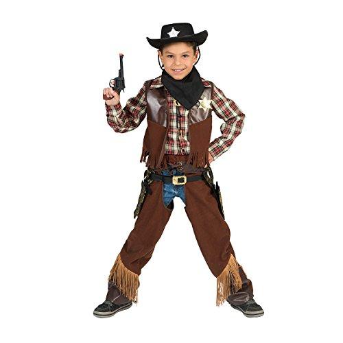 Kostümplanet® Cowboy Kostüm Kinder Karneval braun 128 (Cow Boy Kostüm)