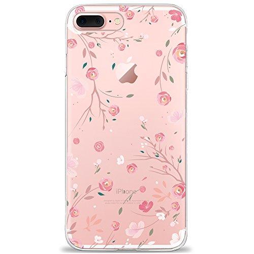 t iPhone 7 Plus / 8 Plus Hülle, Dolce Vita Serie Transparente Silikon Handyhülle für Damen/Mädchen, Durchsichtig mit Rose Blumen Kaktus Flamingo Musik Anker Giraffe Herz Muster ()