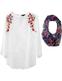 Triumphin Women's White Embroidered Cotton Top