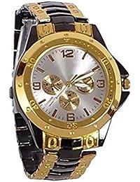 ISmart Rosra Gold Black Round Dial Metal Strap Analogue Watch For Men (GOLD BLACK ROSRA,Metal)